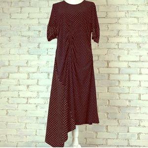 Topshop black polka dot asymmetrical dress 14 EUC